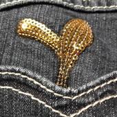 Классные стрейч джинсы с яблоками на попе и белой прострочкой. Размер: 26