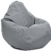 Серое кресло-груша из микророгожки 100х75 см
