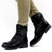 Ботинки женские черные паетки Д453