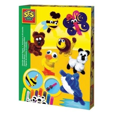Ses набор для творчества веселые фигурки животных синель 9 цветов синели фото №1