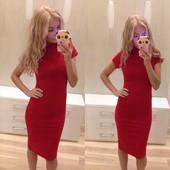 Платье-миди с горлом 3 цвета