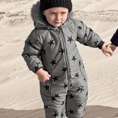 Серый - Зимний комбинезон со звездами (3 мес.-6 лет)