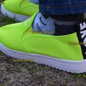Женские слипоны мокасины Love лав зеленые желтые яркие