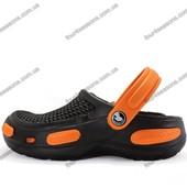 Мужские кроксы. Черные с оранжевым