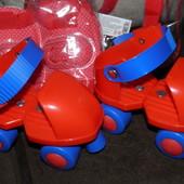 Ролики для начинающих. с защитой, Profi Roller артикул MS 0038 цвет Красный
