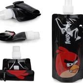 Детская бутылка фляга бутылочка для воды поильник Angry birds эко спортивная туристическая
