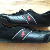 Кожаные фирменные туфли-кроссовки Polo р.40-26см.