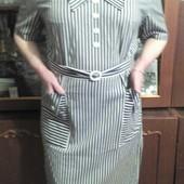 Платье в черно-белую полоску 52-54
