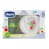 Подарочный набор посуды Chicco: тарелка, чашка, ложечка (6 м+)