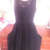 Jennufer с кружевом коктейльное маленькое черное платье 42-44р