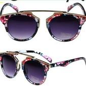 Скидка!! Солнцезащитные очки женские фигурные Цветочный принт, чёрные