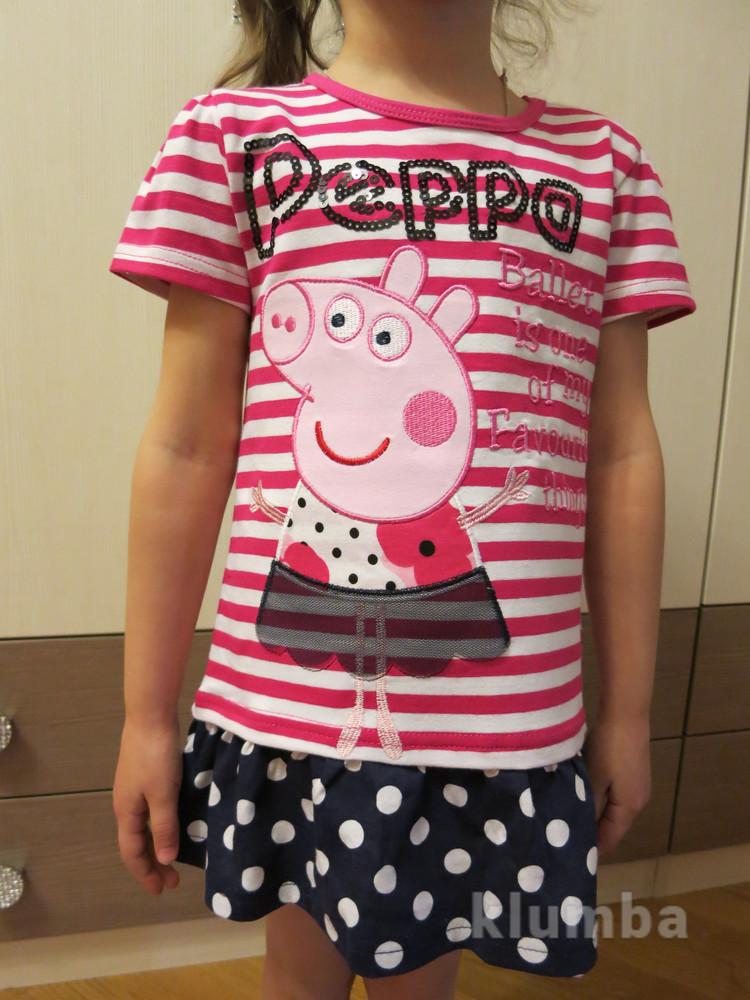 Летнее платье туника для девочки 92,98,104,110,116 с пеппой фото №1