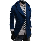 Кашемировое пальто с капюшоном тёмно-синего цвета.