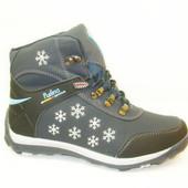 Ботинки зимние синие снежинки С452
