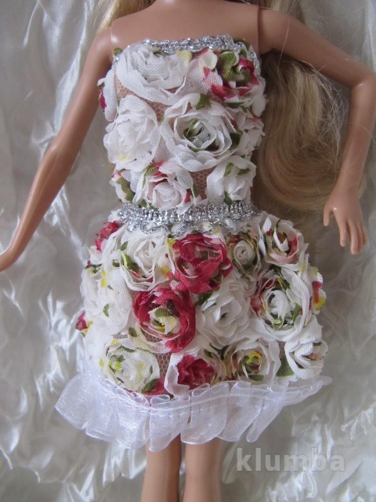 Платье для барби с объемными цветами новое фото №1