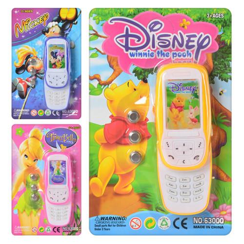 Детский интерактивный телефон disney 6300: 3 вида, свет/звук фото №1