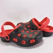 3913Кроксы детские. Черные с красным. 30~35р.