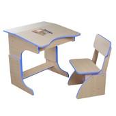Детская Эко парта растущая синяя и стульчик. F42