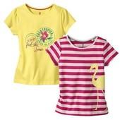 разные футболки для девочек Lupilu. комплект 2 шт. 86-92, 98-104, 110-116