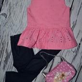 9 - 12 месяцев 80 см Футболка футболочка блуза фирменная для девочки Next Некст