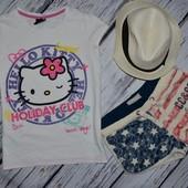11 - 12 лет 146 - 152 Обалденная фирменная натуральная футболка девочке с Hello Kitty Хеллоу Китти