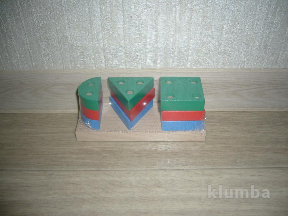 Деревянные игрушки - геометрическая пирамида Комаровтойс фото №1