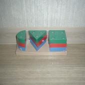 Деревянные игрушки - геометрическая пирамида Комаровтойс
