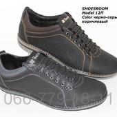 Мужские летние кожаные туфли комфорт, 2 цвета, перфорация