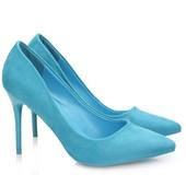 Элегантные замшевые (экозамша) туфли, цвет аквамарин