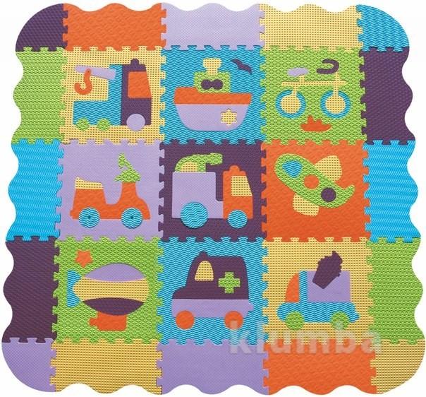 Детский игровой коврик-пазл «быстрый транспорт» с бортиком фото №1