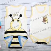 Бодик Пчелка 62 68 74 размер, боди с коротким рукавом приятный на ощупь, 100% хлопок