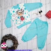 "Яркий костюм 80 размер ""Mini Princess"" на девочку 1 год, 100% хлопок, Турция, штаны кофта"