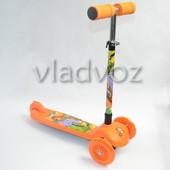 Детский самокат регулируется ручка 4kids scooter до 30кг оранжевые от 3-х лет