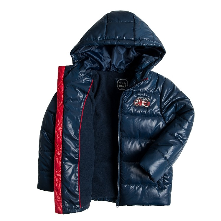Детская куртка теплая на мальчика синяя smyk  cool club размер 128см наличие фото №3