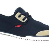 41 и 44 р Мужские стильные мокасины синего цвета (КS-801)