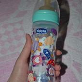 Новая бутылочка Chicco пластик, латекс - 250 мл, от 2 мес