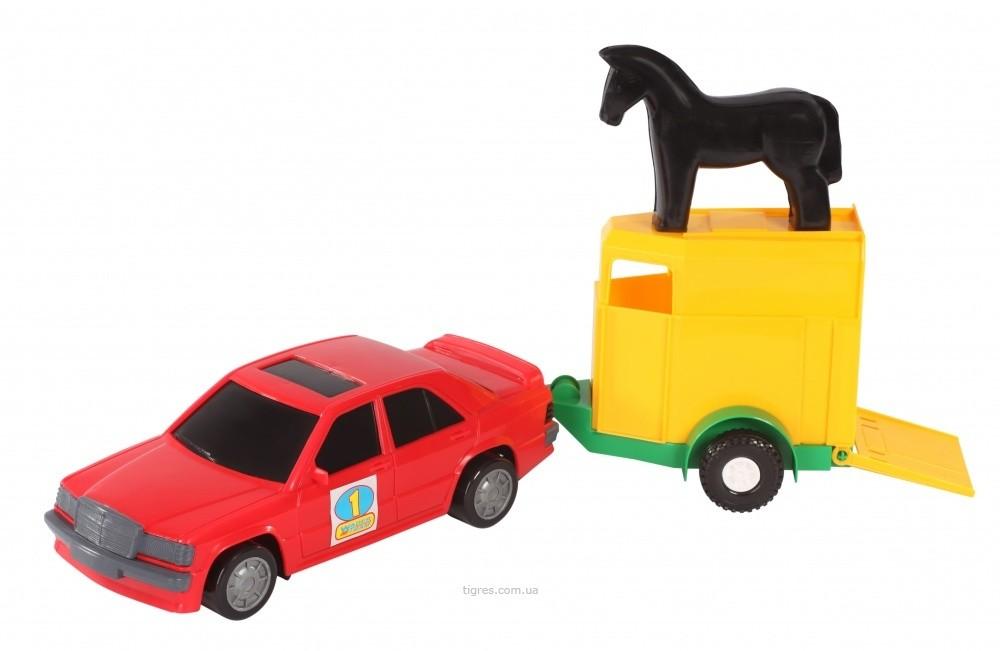 Набор машина с прицепом и лошадкой , вадер фото №1