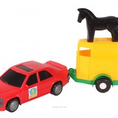 Набор  машина с прицепом и лошадкой ,  Вадер