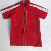 Крутая коттоновая красная  рубашка разм. XL