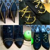 Крутые туфли на шпильке ботильоны с золотыми цепочками