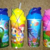 Бутылочка для питья с трубочкой,300 мл, объемный рисунок 3Д. Укрпочта=12 грн