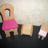 Деревянная мебель детская для кукол стул кресло