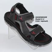 Мужские кожаные(спилок) сандалии, черные, Ecco(реплика), 40 размер