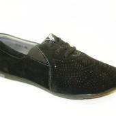Кроссовки женские черные замша Т161
