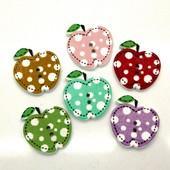Деревянные пуговицы-яблочки для рукоделия и развивающих игрушек. Цена за 1 шт., от 10 шт. - скидка