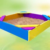Песочница, 150×150, детская, деревянная, цветная, сосна, 8010