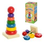 Деревянная игрушка Пирамидка Woody MD 0066, 7 элементов, от 1 года