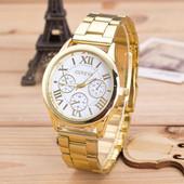 Наручные часы Женева с золотистым ремешком код 169