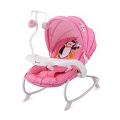 Шезлонг-качалка Bertoni Dream Time Pink Penguin (розовая), с рисунком