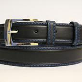 Ремень кожаный классический 35 мм чорный с синей ниткой